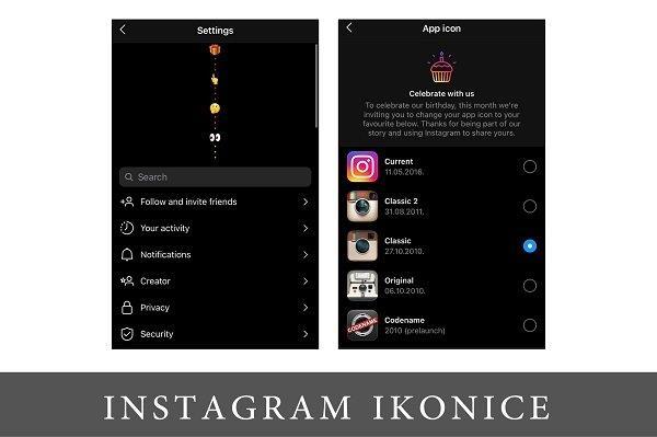 snimak ekrana iz instagrama sa novo opcijom sa ikonicama