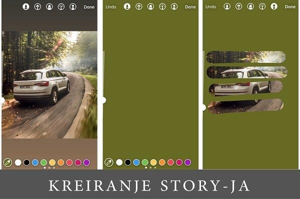 snimak ekrana iz Instagrama pri kreiranju Story-ja