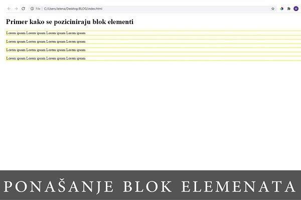 snimak ekrana sa pozicioniranim blok elementima
