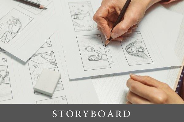 the hands of designers drawing a sketch for a storyboard