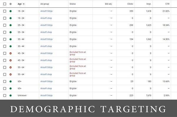 ekran iz google ads kontrolne table sa demografskim targetiranjem