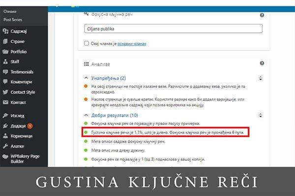snimak ekrana iz wordpress kontrolne table za izveštajem iz Yoast-a o optimizaciji teksta