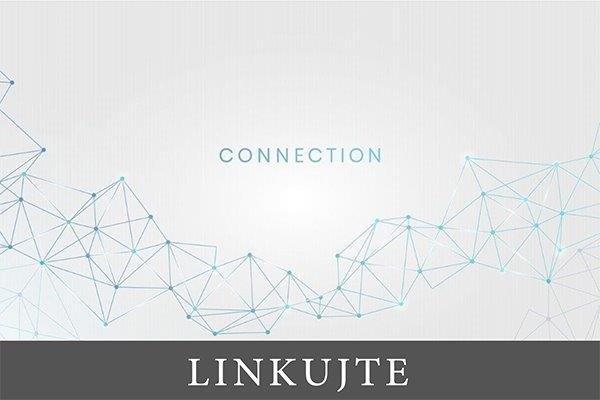 međusobno povezane tačke u geometrijskoj strukturi sa natpisom veza na sredini na engleskom jeziku