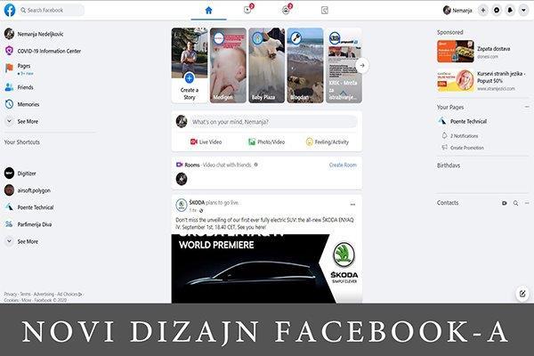 screenshot ekrana sa novim izgledom Facebooka-a