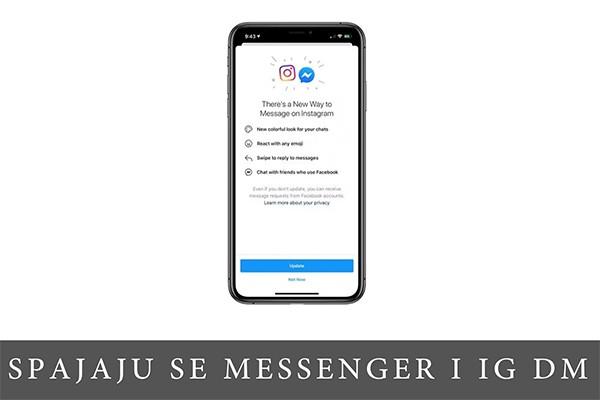 pametni telefon sa prikazom ekrana na kome je obaveštenje o novoj opciji povezivanja DM sa Messengerom