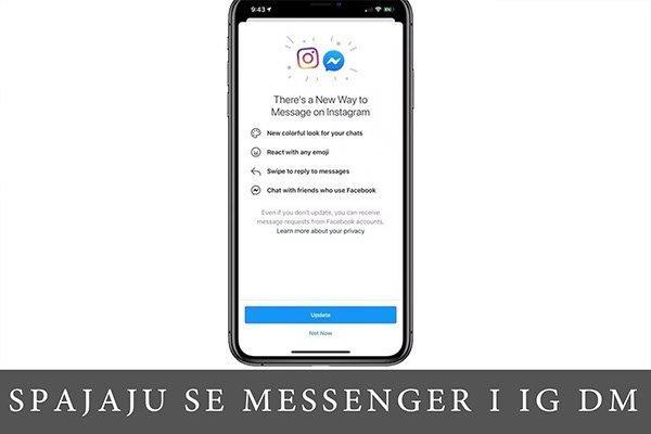 pametni telefon sa prikazom ekrana na kome je obaveštenje o novoj opciji povezivanja sa Messengerom