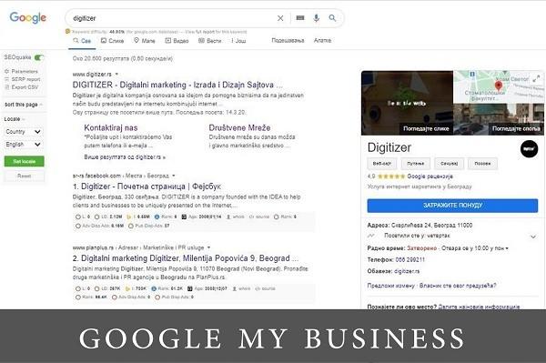 Snimak ekrana iz pretrage sa prikazom digitizerovog Google my business