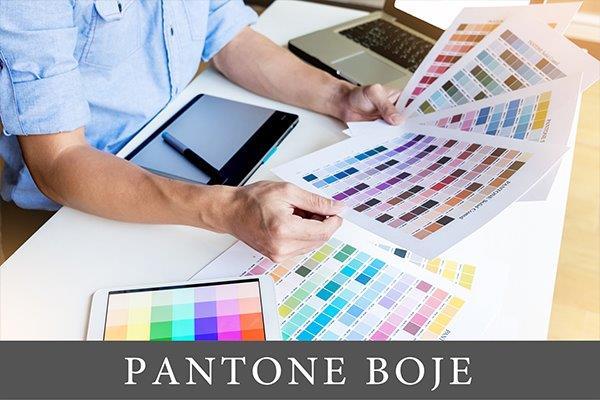 dizajner pred kojim se nalaze različite palete boja